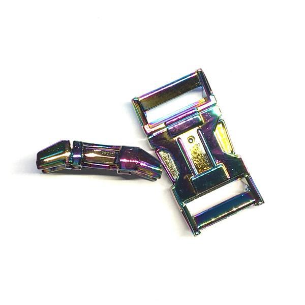 Gebogene Steckschnalle, Zinkguß, Farbe: Neo-chrome